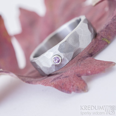 Draill matný a pink safír 2,2 mm do Ag - velikost 55, šířka 6,2, tloušťka 1,7 mm - Kovaný záasnubní prsten - sk2389 (6)