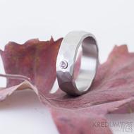 Draill matný a pink safír 2,2 mm do Ag - velikost 55, šířka 6,2, tloušťka 1,7 mm - Kovaný záasnubní prsten - sk2389 (3)