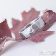 Draill matný a pink safír 2,2 mm do Ag - velikost 55, šířka 6,2, tloušťka 1,7 mm - Kovaný záasnubní prsten - sk2389 (5)