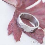 Draill matný a pink safír 2,2 mm do Ag - velikost 55, šířka 6,2, tloušťka 1,7 mm - Kovaný záasnubní prsten - sk2389 (4)