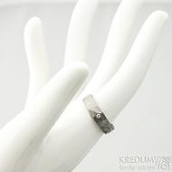 Draill titan a čirý diamant 1,7 mm - matný- 51, šířka 5 mm, tloušťka střední - Titanové snubní prsteny - k 1831 (7)