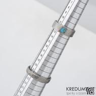 Draill titan a tyrkys - kovaný titanový prsten, velikost 52, šířka prstenu 6 mm