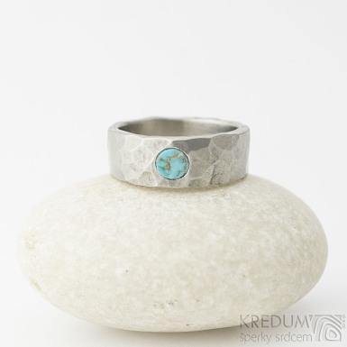 DRAILL titan matný a tyrkys natural - Kovaný prsten - SK2310
