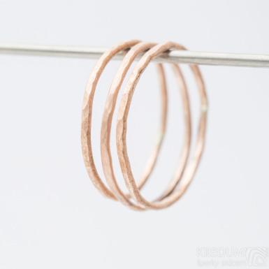 Golden Plain draill red - Zlatý snubní prsten