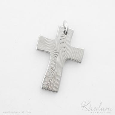 Křížek s očkem, dřevo - kovaný přívěsek damasteel - SK4161