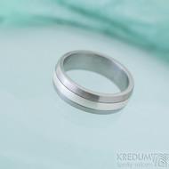 Duori Klasik Silver - 56, šířka 6,1 mm, tloušťka 2 mm - Nerezový snubní prsten a stříbro - SK2333 (2)