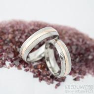 Duori red - linka 1,5 mm, šířka 5,5 mm, dřevo - 75 SV, profil D - velikosti 51 a 60 - Damasteel snubní prsteny a zlato - k 1429 (2)