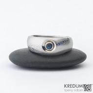 Eli a topaz 3 mm do Ag - Damasteel zásnubní prsten sk1277  (2)