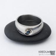 Eli a topaz 3 mm do Ag - Damasteel zásnubní prsten sk1277  (3)