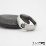 Eli stone - Nerezový prsten s vltavínem - vel 51, šíře hlava 6 mm do dlaně 4 mm, povrch mat -  k 0817 (3)