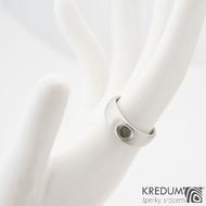 Eli stone - Nerezový prsten s vltavínem - vel 51, šíře hlava 6 mm do dlaně 4 mm, povrch mat -  k 0817 (4)