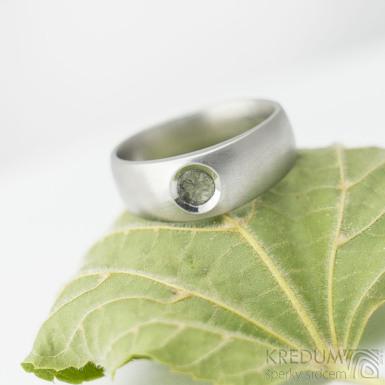 Eli stone s přírodním kamenem - Kovaný prsten z nerezové oceli