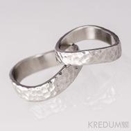 Kované nerezové snubní prsteny - FOREVER Atlas, lesklé - profil obdélník