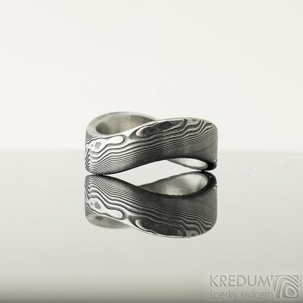 Forever dřevo - lept 100% TM, velikost 60, šířka kovu 7 mm, vlna 10,5 mm, profil C - Damasteel prsten - et 1904