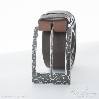 Kovaná nerez spona - Patrem 3,5X - Draill + kožený pásek  3,5X hnědé barvy - SK4129