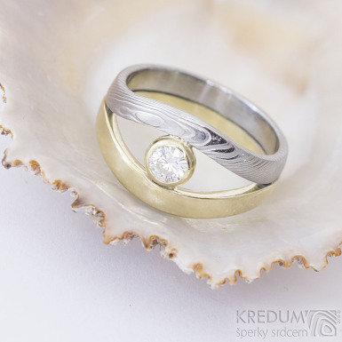Gemini gem - Zlatý prsten a damasteel - dřevo