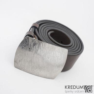 Gentleman 4 - Kožený opasek s kovanou sponou damasteel - komplet - SK1109