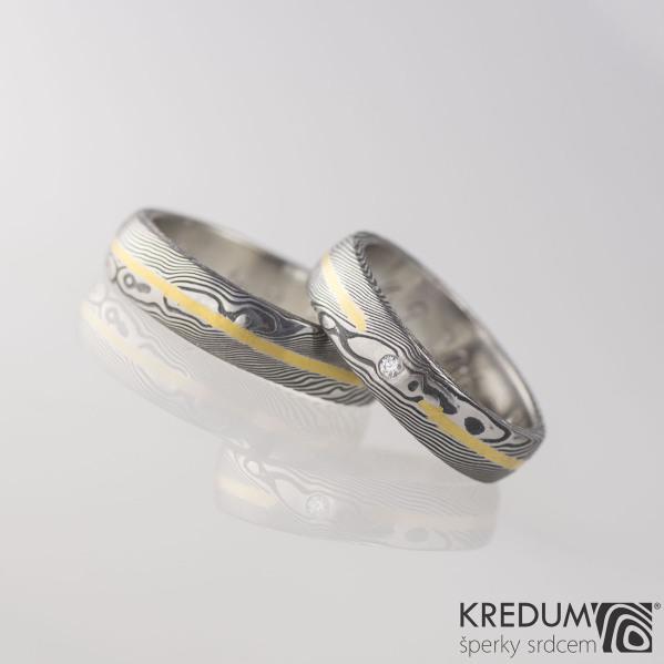 Goda a diamant 1,7 mm + Golden line - dřevo - Snubní prsten damasteel a zlato