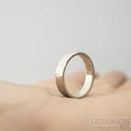 Golden draill white - velikost 58, šířka 5 mm, tloušťka 1,5 mm, matný - Zlaté snubní prsteny - k 1777