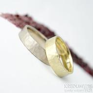 Golden draill yellow - 48, 5mm, 1,2 mm, matný a Golden draill white - 58,65 mm, 1,5 mm, matný - Zlaté snubní prsteny - k 1777