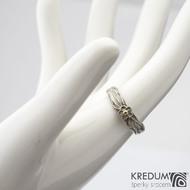 Gordik flower + bílá Au kytička a žlutý střed - 52, šířka 4, průměr kytičky 5 mm - Zásnubní prsten - k 1093 (7)