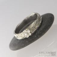 Gordik Flower - Motaný snubní nerezový a stříbrný prsten se stříbrnou kytičkou