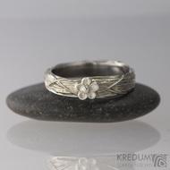 Gordik Flower Ag - Motaný snubní nerezový a stříbrný prsten