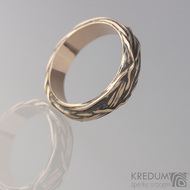 Gordik Mokume Gold - patina - Motaný zlatý prsten, S1896