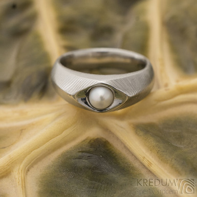 Gracia s pravou perlou - Prsten damasteel, S1147