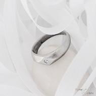 GRADA a čirý diamant 1,5 mm  - Kovaný zásnubní prsten damasteel - dřevo