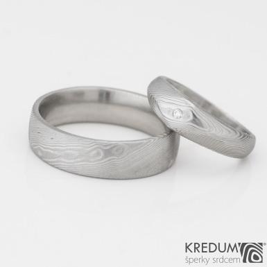 GRADA a čirý diamant 1,5 mm - dřevo - Kovaný zásnubní prsten damasteel