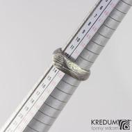 Grada, voda - Damasteel zásnubní prsten - vel 53, šířka 4,7 - 7 mm, lept 100% zatmavený - S2022 (3)