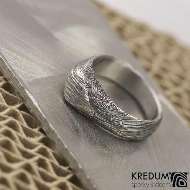 Grada, voda - Damasteel zásnubní prsten - vel 53, šířka 4,7 - 7 mm, lept 100% zatmavený - S2022