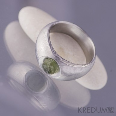 Kovaný prsten damasteel - Greeneli, dřevo světlé