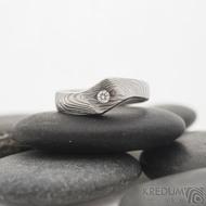 Hendi a čirý diamant 2,3 mm - 52, šířka 4 mm hlava 7 mm, dřevo 75% světlý - Damasteel zásnubní prsten - sk2513 (6)
