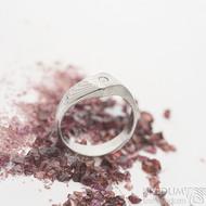 Hendi a čirý diamant 2,3 mm - 52, šířka 4 mm hlava 7 mm, dřevo 75% světlý - Damasteel zásnubní prsten - sk2513 (4)
