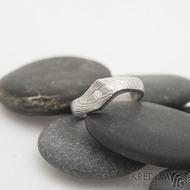 Hendi a čirý diamant 2,3 mm - 52, šířka 4 mm hlava 7 mm, dřevo 75% světlý - Damasteel zásnubní prsten - sk2513 (8)
