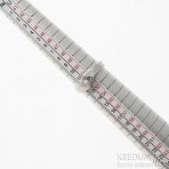 Hendi a čirý diamant 2,3 mm - 52, šířka 4 mm hlava 7 mm, dřevo 75% světlý - Damasteel zásnubní prsten - sk2513