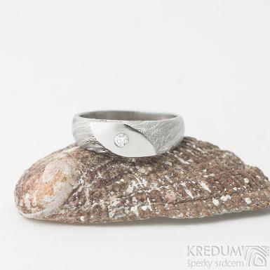 Intimity slim a čirý diamant 2,3 mm - 53, šířka hlavy 6 mm, do dlaně 3 mm, voda 75% SV - Zásnubní prsten damasteel - k 2361 (4)