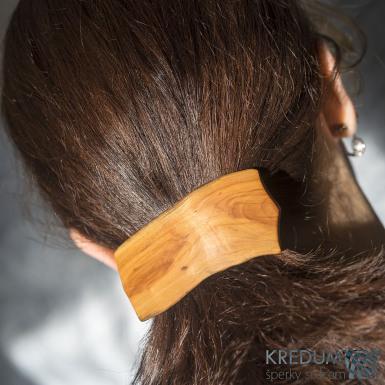 Jabloňová - Ručně vyrobená dřevěná spona, SK1517 (4)