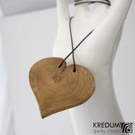 Jabloňové srdce - Ručně vyrobený  dřevěný přívěsek, SK1485 - zadní strana rovná