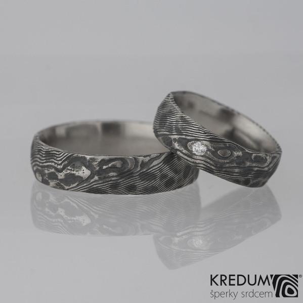 Natura + čirý diamant 2 mm - snubní prsten kovaná nerezová ocel damasteel