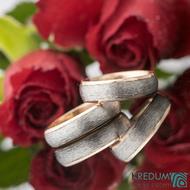 Cygnus titan red - Snubní prsteny z titanu a červeného zlata