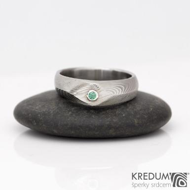 GRADA a kámen do 2 mm ve stříbře - zásnubní prsten damasteel, struktura dřevo