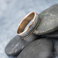 Kasiopea red S1636 - Snubní prsteny, kombinace zlata a damasteel oceli - 62, šířka 5,7 mm, tloušťka 1,4 mm, TW, 75% TM, profil B (4)