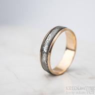Kasiopea red S1636 - Snubní prsteny, kombinace zlata a damasteel oceli - 62, šířka 5,7 mm, tloušťka 1,4 mm, TW, 75% TM, profil B (3)
