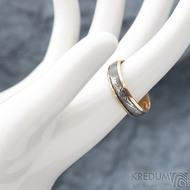 Kasiopea red S1636 - Snubní prsteny, kombinace zlata a damasteel oceli - 62, šířka 5,7 mm, tloušťka 1,4 mm, TW, 75% TM, profil B (2)