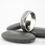 Kasiopea steel struktura voda - velikost 61, šířka 6,2 mm, lept 75% TM, profil B - Damasteel snubní prsteny - sk1857 (5)
