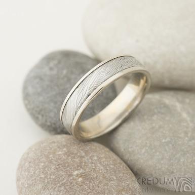 Kasiopea white - 56, š 5 mm, tl 1,6 mm, okraje 2x0,75 mm, voda - 75%SV - Damasteel a zlaté snubní prsteny - sk2215 (3)