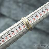 Kasiopea yellow - 48, šířka 4,3 mm, tloušťka 1,4 mm, dřevo - 75SV, okraje 2x0,75 mm tepané - Zlaté snubní prsteny - s1419